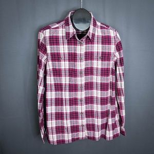 Duluth Womens Shirt Top Large Purple Plaid Flannel